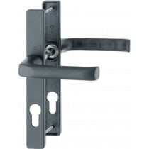Patio Door Handle. Door Thickness: 58-62 mm + 68-72 mm.  Finish: F9714m Black Matt.  Hole Distance: 70 mm.  Spindle Size: 7 mm