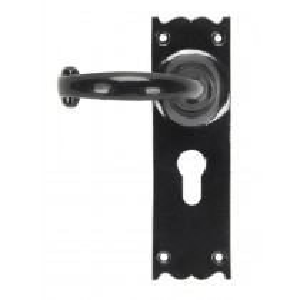 Black Cottage Lever Euro Lock Set