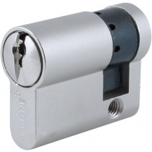 Euro Cylinder. Finish: Matt Nickel Plate.  Keying Application: Master Keyed.  Size: 40 mm