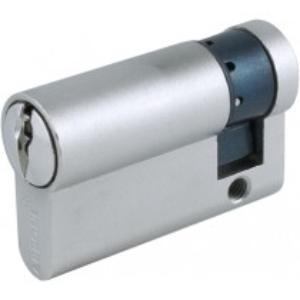 Euro Cylinder. Finish: Matt Nickel Plate.  Keying Application: Master Keyed.  Size: 50 mm