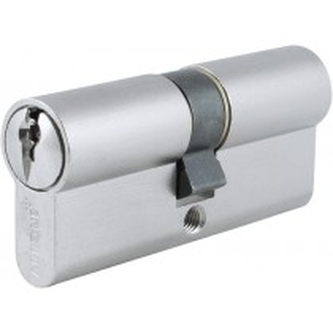 Euro Cylinder. Finish: Matt Nickel Plate.  Keying Application: Keyed Alike.  Size: 35/35 mm