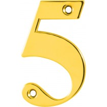 Number 5. Character: Number 5.  Finish: Polished Brass.  Product Height: 79 mm