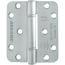 Ball Bearing Hinge. Drilling Types: 4 Holes Template Drilled, Countersunk.  Finish: Stainless Steel Brushed.  Material: A2 Stainless Steel.  Shape: Radiused.  Size: 100 mm x 88 mm x 3 mm