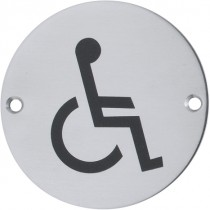 Signs. Finish: Stainless Steel Brushed.  Material: Stainless Steel: Grade 304.  Symbol: Disabled