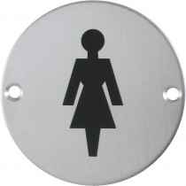 Signs. Finish: Stainless Steel Brushed.  Material: Stainless Steel: Grade 304.  Symbol: Female