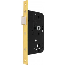 Mortice Latch. Backset: 60 mm, Pierced For Furniture At 38 mm Centres.  Case Size: Depth: 88 mm Length: 165 mm Width: 16 mm, Modular.  Face Plate Finish: F77 Brass-coloured, Polished.  Shape: Square