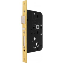 Mortice Escape Lock. Face Plate Finish: F77 Brass-coloured, Polished.  Shape: Square