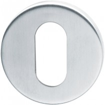 Escutcheon. Finish: F69 Satin Stainless Steel.  Keyhole: Oval Cylinder