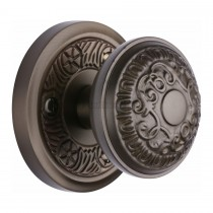 Heritage Brass Mortice Knob on Rose Aydon Design Matt Bronze finish.57mm rose dia.