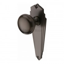 Heritage Brass Mortice Knob on Latch Plate Broadway Design Matt Bronze finish.156x156 mm backplate