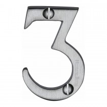 "Heritage Brass Numeral 3 Face Fix 51mm (2"") Satin Chrome finish"