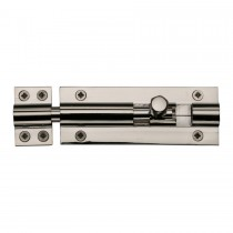"Heritage Brass Door Bolt Straight 4"" x 1.5"" Polished Nickel finish"