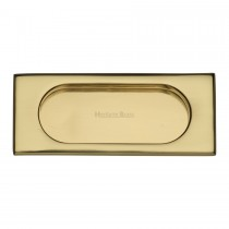 Heritage Brass Flush Pull Handle 105mm Polished Brass Finish. 105x44 mm