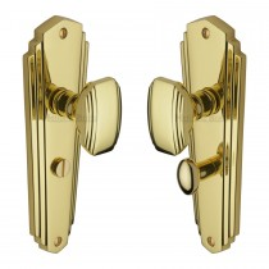 Heritage Brass Mortice Knob on Bathroom Plate Charlston Design Polished Brass finish.203x203 mm backplate