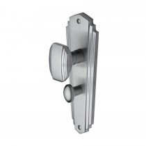 Heritage Brass Mortice Knob on Bathroom Plate Charlston Design Satin Chrome finish.203x203 mm backplate