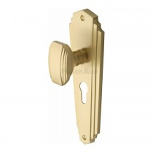 Heritage Brass Mortice Knob on Euro Profile Plate Charlston Design Satin Brass finish.203x203 mm backplate