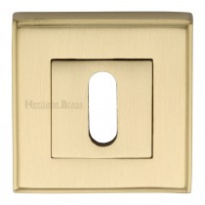 Heritage Brass Key Escutcheon Square Satin Brass finish. 54x54 mm