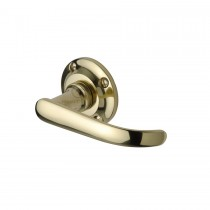 Project Hardware Door Handle Lever Latch on Round Rose Avon Design Polished Brass finish. 57mm rose
