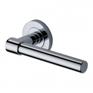 Heritage Brass Door Handle Lever on Rose Phoenix Design Polished Chrome Finish. 53mm rose