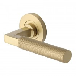 Heritage Brass Door Handle Lever on Rose Signac (Knurled Bauhaus) Design Satin Brass Finish. 53mm rose