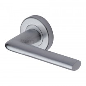 Sorrento Door Handle Lever Latch on Round Rose Lena Design Satin Chrome finish. 53mm rose