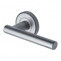 Sorrento Door Handle Lever Latch on Round Rose Shuttle Design Satin Chrome finish. 53mm rose