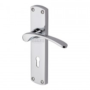 Sorrento Door Handle Lever Lock Luca Design. Polished Chrome. 170x42 mm backplate.