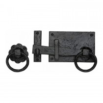 M.Marcus Tudor Collection Gate Latch Black Iron. 142 mm backplate length