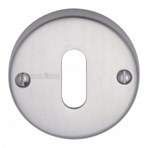 Heritage Brass Keyhole Escutcheon Satin Chrome finish. 45mm dia