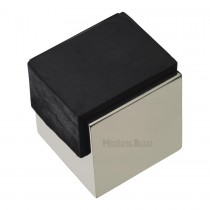Heritage Brass Door Stop Square Floor Mounted Design Polished Nickel Finish 42mm projection.
