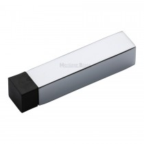Heritage Brass Door Stop Square Wall Mounted Design Polished Chrome Finish 76mm projection.