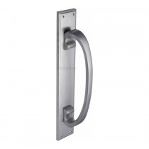 Heritage Brass Door Pull Handle on Plate Satin Chrome finish