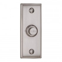 "Heritage Brass Bell Push 3"" x 1"" Satin Chrome finish"