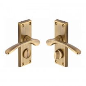 Heritage Brass Door Handle for Privacy Set Sophia Short Design. Antique Brass. 119x40 mm backplate.