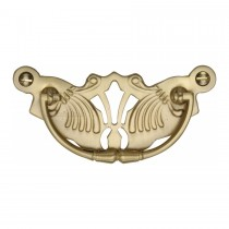 Heritage Brass Cabinet Pull Ornate Plate Design Satin Brass Finish. 90x40 mm