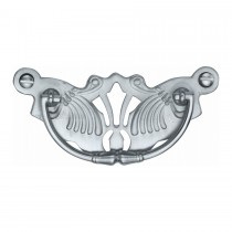 Heritage Brass Cabinet Pull Ornate Plate Design Satin Chrome Finish. 90x40 mm