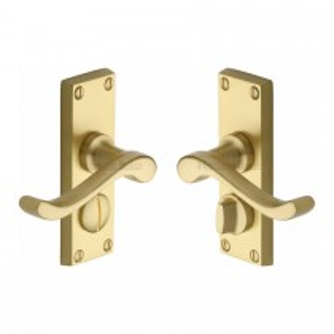 Heritage Brass Door Handle for Privacy Set Bedford Short Design. Satin Brass. 119x40 mm backplate.