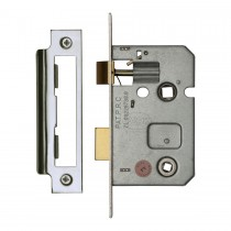 M.Marcus York Bathroom Lock 2 1/2inch case length. Polished Chrome/Nickel