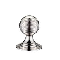 Queen Anne Ringed Knob 32mm rose dia. - Polished Nickel