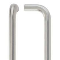 19mm D Pull Handle - 300mm Centers - Grade 201 - Bolt Through Fixings - Stainless Steel Effect