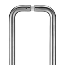 Pair of 19mm D Pull Handle - 225mm Centers - Grade 201 - c/w Back to Back Fixings - Stainless Steel Effect