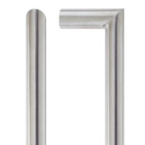 19mm Mitred Pull Handle - 225mm Centers - Grade 201 - Bolt Through Fixings - Stainless Steel Effect