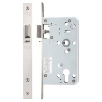 Din night latch - 72mm c/c - backset 60mm - Stainless Steel Effect